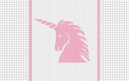 Pink Unicorn Silhouette Easy Crochet Afghan Pattern Graph