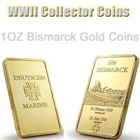 Wish German Die Bismarck Battleship Gold Plated Bullion Bar Coins 1oz Germany Navy Deutsche Marine 24k Gold Bar Souvenir Coin Gold Price Bismarck Gold Coins