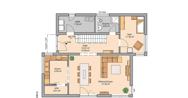 massivhaus kern haus familienhaus futura pult grundriss erdgeschoss interessante grundrisse. Black Bedroom Furniture Sets. Home Design Ideas
