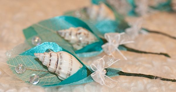 beach themed boutonnieres | another finished DIY project, our beach-themed boutonniere!