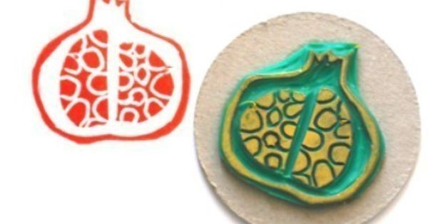 Pomegranate hand carved rubber stamp nice tattoos