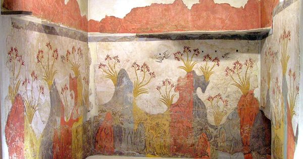 The almost perfectly preserved mural painting from for Dolphin mural knossos