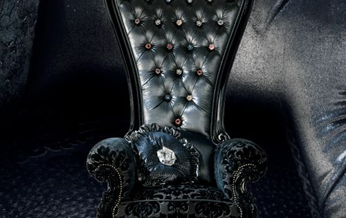 Black jeweled high back chair