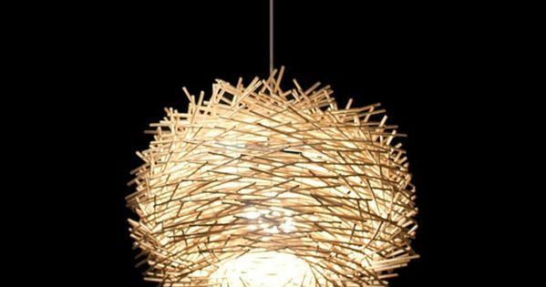 diy lampen selber machen lampe diy lampenschirme selber machen vogelnest rattan zuk nftige. Black Bedroom Furniture Sets. Home Design Ideas