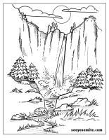 Printable Coloring Page For The Kids Of A Yosemite Waterfall