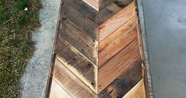 Reclaimed Chevron herringbone pallet wood table.