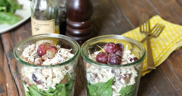 Summer picnic idea: chicken salad in jars. This is such a clever
