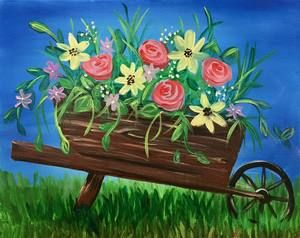 Blooming Wheel Barrow 2 5 Hours Spring Painting Night Painting Flower Painting,Bedroom Ceiling Fans With Lights