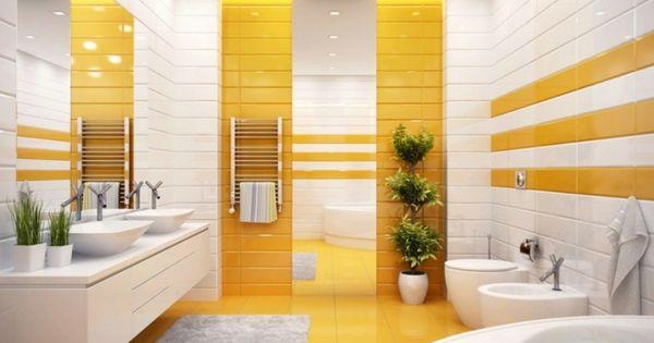 gelb badezimmer gestaltung idee streifen weiss kacheln pflanzen b der pinterest gelbe. Black Bedroom Furniture Sets. Home Design Ideas