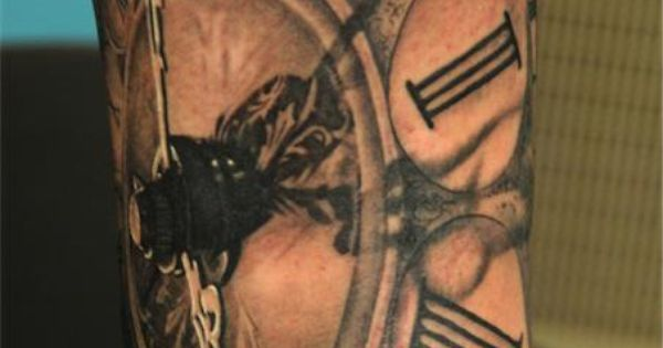 Clock tattoo by Andy Engel. If I were to get this there