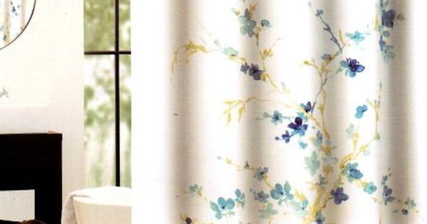 Tahari Home Printemps White/Blue Floral Fabric Shower Curtain Tahari Home Http://www.amazon.com