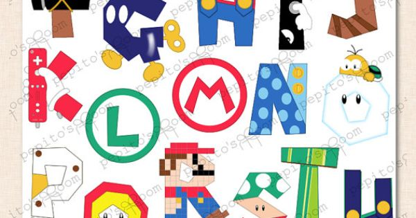 Printink Super Mario Bros Alphabet Poster Wall Art By