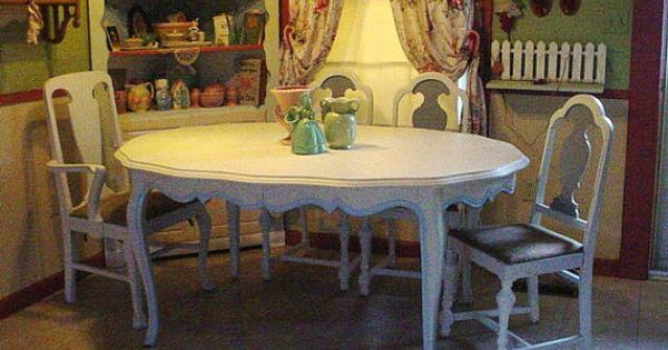 Vintage french dining room table cottage by for Dining room tables etsy