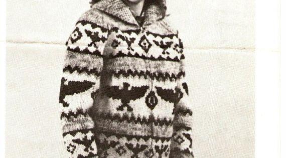 Cowichan Sweater White Buffalo Wool Cowichan Eagle Design Sweater UniSex Knit...
