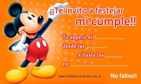 Mickey Mouse Tarjeta De Cumpleaños De Mickey Para Imprimir