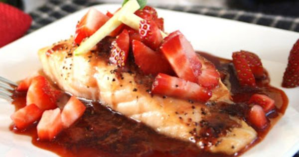 Roasted Salmon in a Strawberry-Balsamic Reduction by inspirededibles Salmon Strawberry Balsamic health