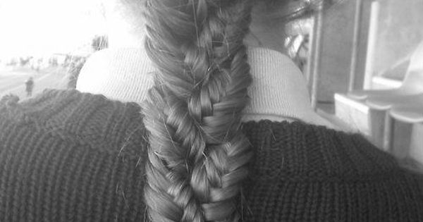 Fish tail braid. The fishtail braids braided toghther