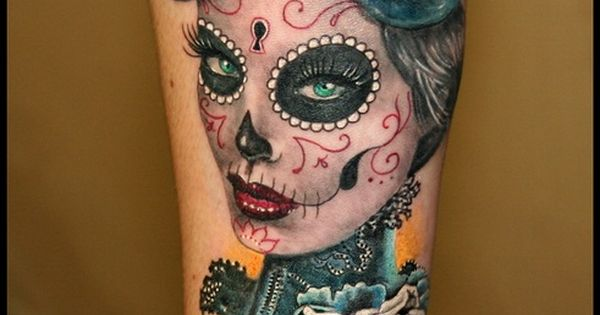 Girly Sugar Skull Tattoos › Anabi Arm Tattoo