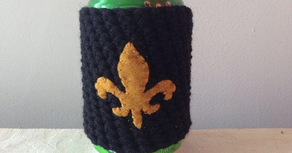 New orleans saints fleur de lis crochet beer koozie for Cup cozy pillow