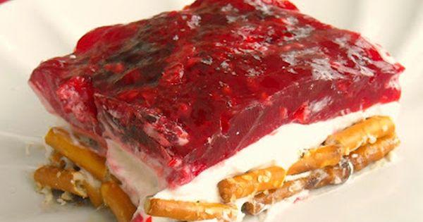 raspberry pretzel jello dessert - yum!
