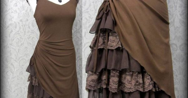Steampunk Romantic Lacey Brown Bustle Effect Hitched Dress 14 Victorian Goth |