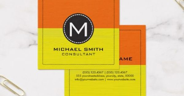 Monogram Elegant Modern Yellow And Orange Square Business Card Zazzle Com Square Business Card Hairstylist Business Cards Stylish Monogram