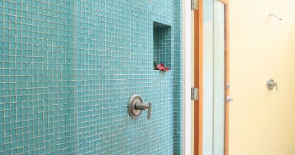 Oceanside Glass Tile Tessera Collection In A Shower