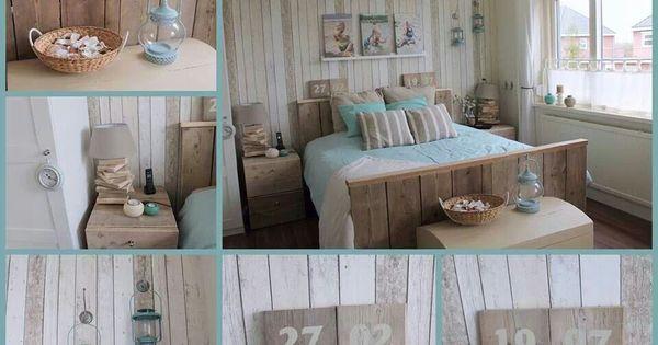 Strand thema slaapkamer inrichting en decoratie pinterest zee thema strand thema en for Deco slaapkamer chalet