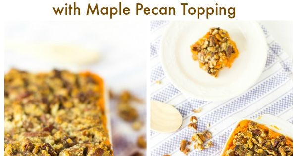 This Skinny Sweet Potato Casserole with Maple Pecan Topping is a vegan,