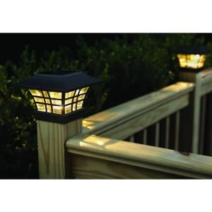 Solar Black Led Deck Post With Plastic Cage And Glass Lens 2 Pack