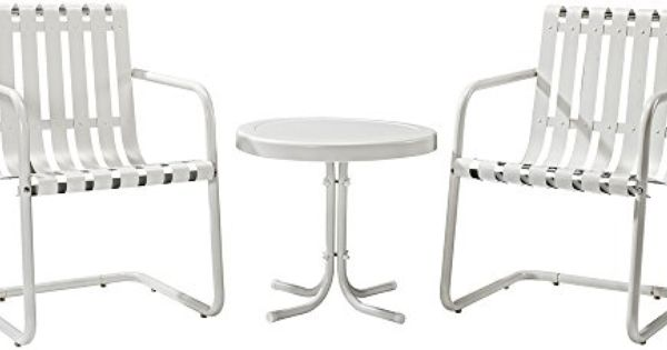 Crosley 3 Piece Gracie Metal Outdoor Conversation Seating Set With 2 Chairs And Side Table Alabaster White Crosley Furniture Furniture Patio Furniture Sets