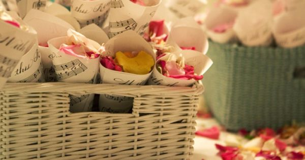 rose petals in music sheets USE VINTAGE BOOK PAGES INSTEAD