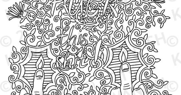 Fuck This Shit Adult Coloring Page Gift Wall Art Funny By