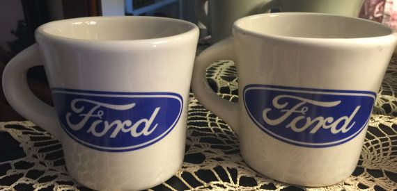 Ford Mugs Vintage Heavy Mug Old Stock Never Used Pair By Mojeart Mugs Diner Vintage