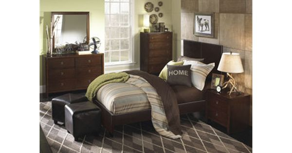 Powell Furniture New Albany 5 PC Twin Bedroom Set Twin PU Bed 6