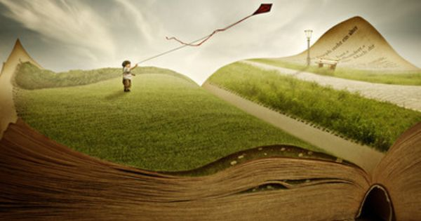Child Flies a Kite out of the Page ~ Story Book Artwork