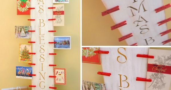 DIY: Easy-to-create Christmas Card Holder with 6' piece of wood and clothespins