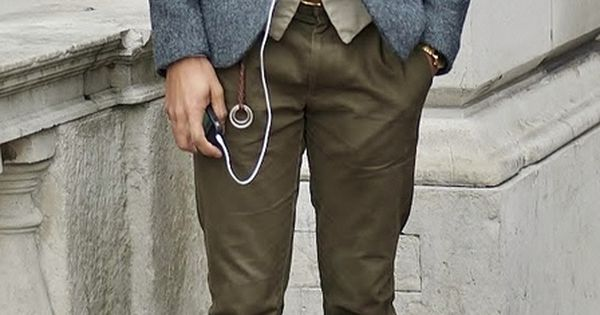 Men's wear Wool blazer, olive pants, leather shoes