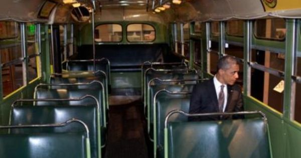 PHOTO: President Obama Sits Inside Rosa Parks Bus. During a recent visit