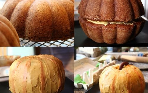 pumpkin cake! stack two bundt cakes together.