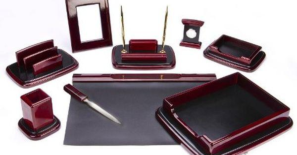 Majestic Goods Nine Piece Burgundy Oak Wood Desk Set Majestic Goods Http Www Amazon Com Dp B002w6zvng Ref Cm Sw R Pi Dp Pczrvb0 Vizitnica Aksessuary Shkatulka