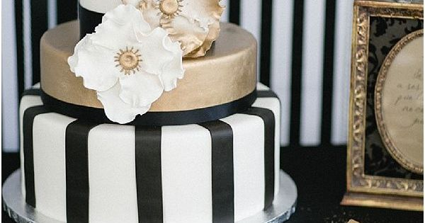 Black, White, and Gold Cake