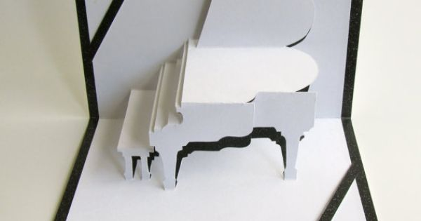 Valentine Grand Piano 3d Pop Up Greeting Card And By