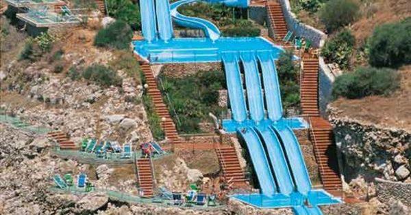 Water slide straight into the Mediterranean Sea! Citta del Mare hotel in