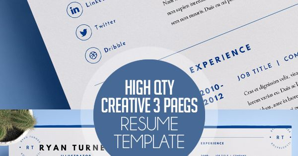 high quality creative resume template 3 pages print