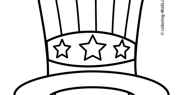 Usa Hat Coloring Pages Usa Independence Day Coloring