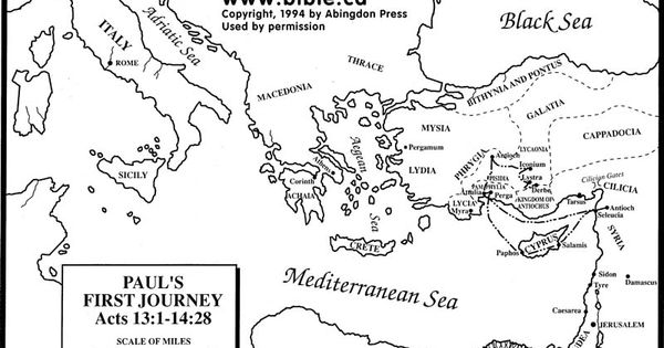 Paul S First Missionary Journey Free Map Bible Paul