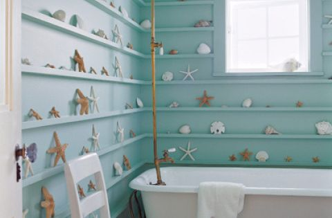 Beach Theme Bathroom Design With Coral And Shell Decors , Beach Bathroom