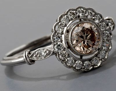 Edwardian Platinum Diamond and Ruby Ring Antique Engagement Ring