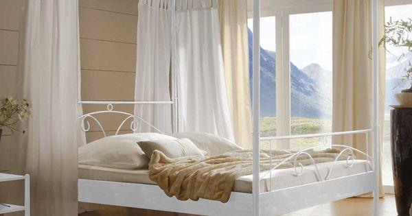 himmelbett in wei mit 200x200 cm liegefl che. Black Bedroom Furniture Sets. Home Design Ideas